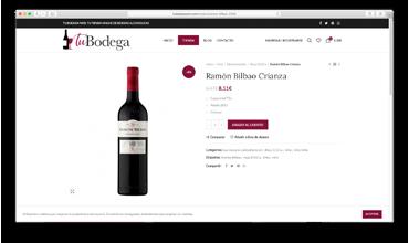 Diseño web de tienda online venta de vino y licores